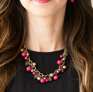 Paparazzi The Grit Crowd Pink Necklace Set